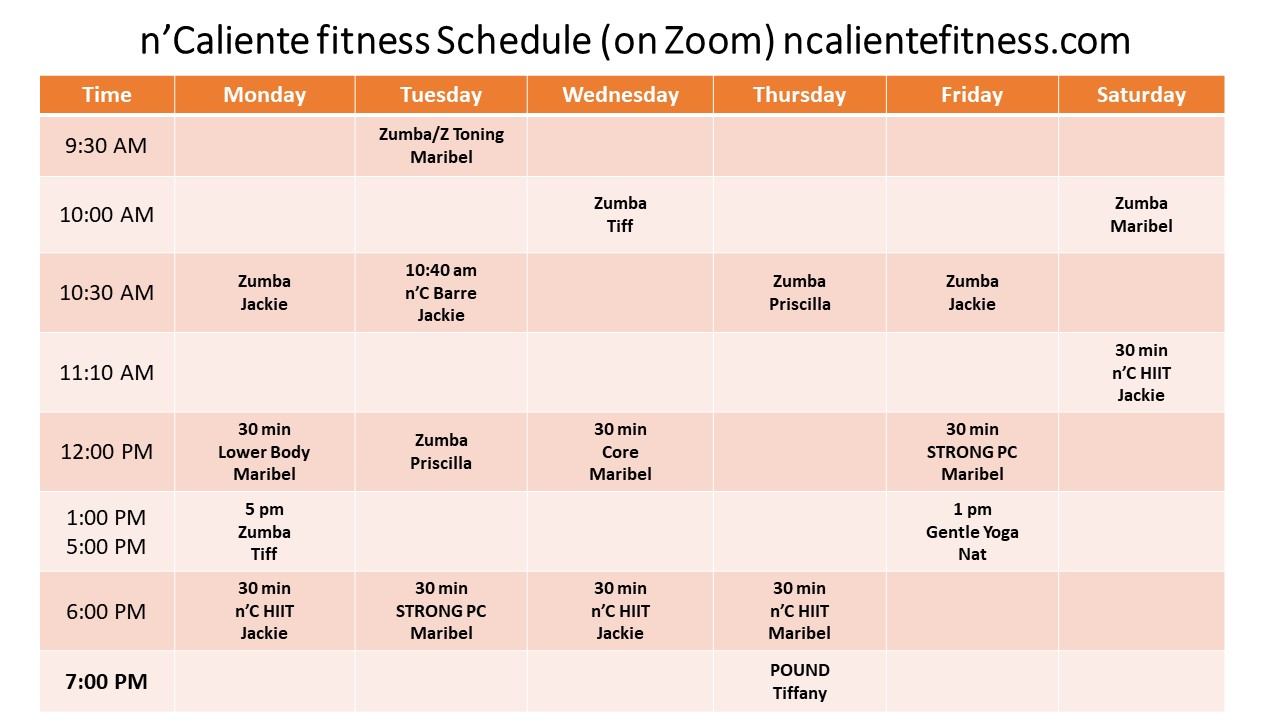 nCaliente-fitness-Schedule-April-2021-At-Studio-and-on